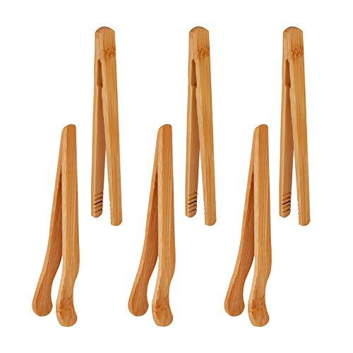 6 Stück Bambus Küchenzange, Bambuszange, Kleine Bambus Zange, Zange Küchenzange, Teezange, Speckzange Andthin Kochzange Ect, Bräunlich Gelb