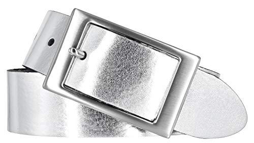 Bernd Götz Damen Leder Gürtel 35 mm silber Nappaleder kürzbar Damengürtel (105 cm)