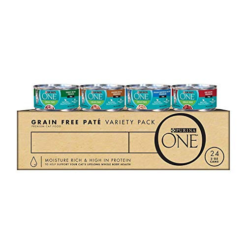 Purina ONE High Protein, Grain Free Pate Wet Cat Food Variety Pack, Grain Free Formula - (24) 3 oz. Cans