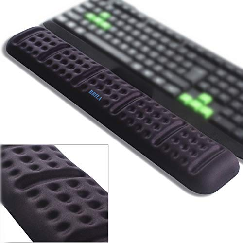 BRILA Upgraded Ergonomic Keyboard Wrist Rest Support Cushion Pad, Comfy Soft Memory Foam Gel Padding Non-Slip Large Keyboard Wrist Hand Elbow Palm Support Pad (Black Keyboard Wrist Rest)