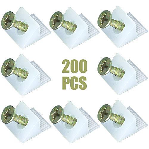 200 Stück Rückwandverbinder Halter, schrankrückwand Stabilisatoren, Rückwandhalter Schubladeboden Halter, Stabilisatoren Kunststoff Keil und Schrauben für durchhängende Schubladen-Böden