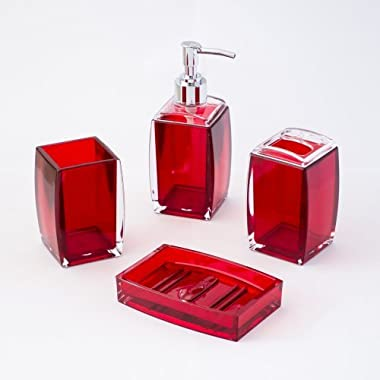 4-Piece Bathroom Accessories Set, Includes Decorative Countertop Soap Dispenser, Dish, Tumbler, Toothbrush Holder, Resin Vanity Ensemble Set for Bathroom, Powder Room, Kitchen