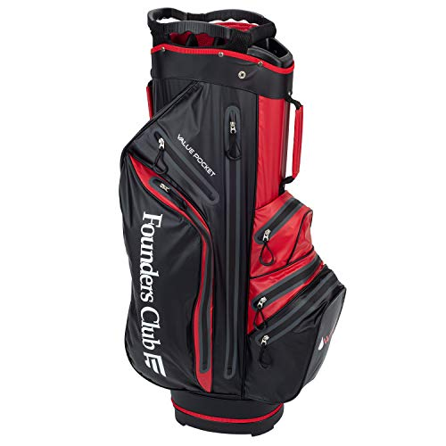 Founders Club Waterproof Golf Cart Bag Ultra Dry for Rainy Days on The Golf Course Light Weight 14 Way Full Length Divider Plus External Putter Tube (Red)