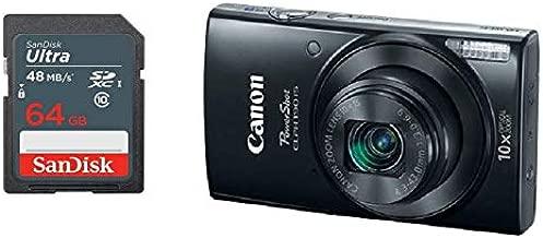 Canon PowerShot ELPH 190 Digital Camera + 64 GB Memory Card (Black)