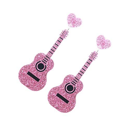 Soimis - Pendientes en forma de guitarra, estilo punk, para mujer, niña, color rosa
