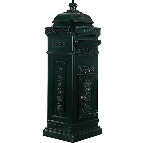 Maxstore Antiker englischer Standbriefkasten, rostfreies Aluminium, Höhe: 102,5 cm, Farbe: Grün
