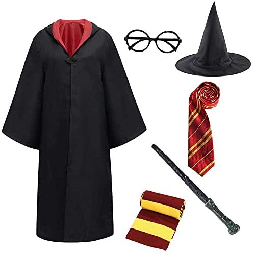Miscoloor Umhang Kostüm für Zauberer,Deluxe Kostüm,Halloween Kostüm ,Zubehör Kit Kostüm Krawatte Schal,Zauberstab Brille Zauberer Hut für Halloween Party Karneval Weihnachten 155