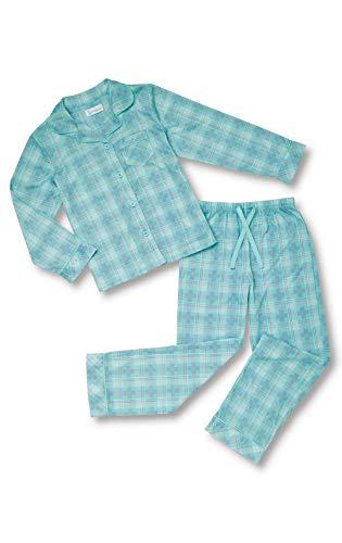 PajamaGram Big Girls' Kids Pajamas - Button Up Plaid Pajamas for Girls, Aqua 14