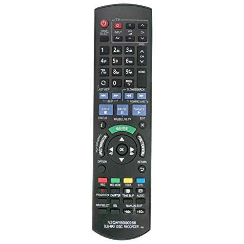 VINABTY N2QAYB000986 Ersatz Fernbedienung passend für Panasonic DMR-BCT940 Dmr-bst940 Dmr-bct845 Dmr-bct745 Dmr-bst740 Dmr-bst845 Dmr-bct740 Dmr-bst745 Blu-ray Disc Recorder