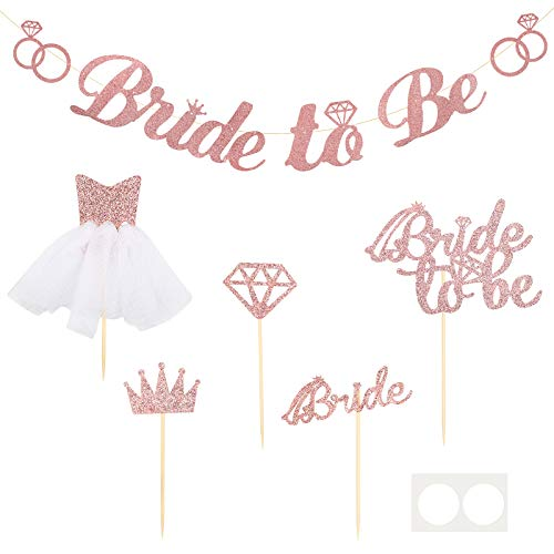 AirSMall 6 Pieces Bachelorette Party Decoration Kit- 1 Pcs Bride to Be Banner,4 Pcs Cupcake Topper in 4 Styles and 1 Pcs Bride to Be Cake Topper,for Celebrate Engagement, Hens Party, Bridal Shower