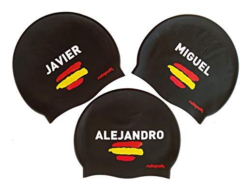 Cuffia in silicone personalizzabile con il tuo nome | Nomi spagnoli | Adulti e bambini | Cuffia da nuoto | Cuffia da piscina | Alta comfort e aderenza | Design e stile italiano | Colore nero |
