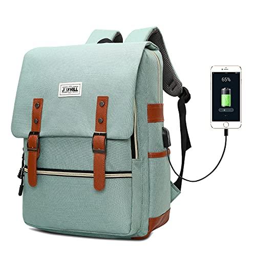 Slim Vintage Laptop Backpack with USB Charging Port, Unisex Work Bag Travel Backpack for Women Men, Water Resistant College School Casual Daypack for Girls Boys, Fits 15.6 Inch Laptop MacBook