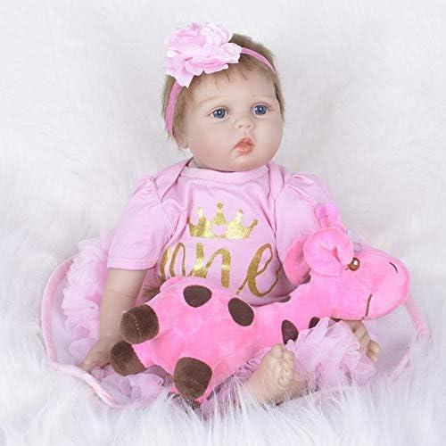 Hongge Reborn Baby Doll,Lebensechte Weißhe Silikon Reborn Puppe Spielzeug Neugeborene Puppe Spielzeug Geschenk 55cm