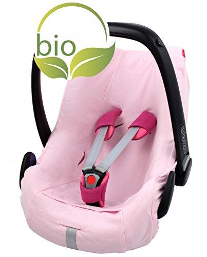 ByBoom–Housse d'été, Housse pour cosy bébé en 100% coton bio, utilisation universelle, compatible par exemple avec Maxi-Cosi, CabrioFix, Pebble, City SPS, couleur: rose