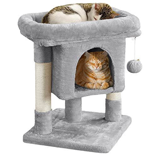 Yaheetech 23.5in Cat Tree Tower, Cat Condo with Sisal-Covered Scratching Posts, Cat House Activity...