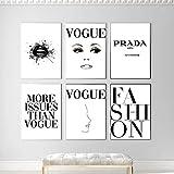 WKHRD Carteles e Impresiones de Moda Negro Blanco Labios Sexy Lienzo Pintura Cuadros de Pared para Sala de Estar Couture Vogue Quote decoración del hogar / 30x40cmx6 (sin Marco)