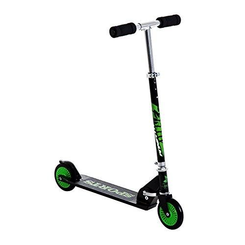 HOMCOM Patinete para Niños Scooter de Evolución Plegable Manillar Ajustable Marco Aluminio Ligero y Estable Carga 50kg 64x34x66-82 cm Verde