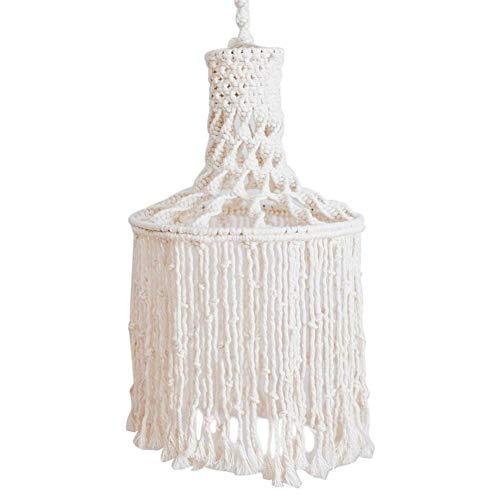 Lámpara de macramé Boho colgante tejido a mano cubierta de luz colgante moderna oficina dormitorio colgante luz salón cuarto cuarto dormitorio bohemio decoración del hogar