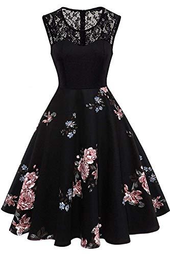 Axoe Damen 50er Jahre Rockabilly Kleid mit Blumenmuster Ärmellos, Farbe04, M (40 EU)