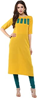Women Solid Color A-Line Straight Tunic Tops Long Dress Kurta Kurti for Girl - 01