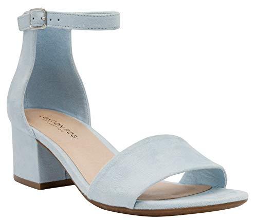 LONDON FOG Women's Nikki Low Two Piece Block Heel Dress Shoe Ladies Ankle Strap Pump Sandal Baby Blue 9.5