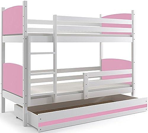 Etagenbett TAMI Farbe  Weiß 190x80cm, mit Lattenroste und Schublade OHNE MATRATZEN (Rosa)