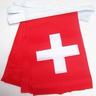 AZ FLAG Switzerland 4 Meters Bunting Flag 20 Flags 6`` x 4`` - Swiss String Flags 10 x 15 cm