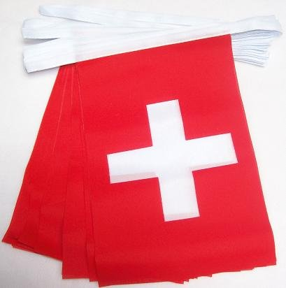 AZ FLAG Switzerland 4 Meters Bunting Flag 20 Flags 6'' x 4'' - Swiss String Flags 10 x 15 cm
