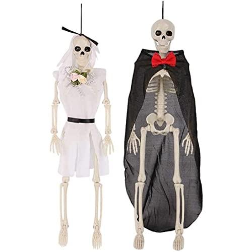 QAZW Esqueleto Figura Gótica De La Novia y El Novio Decoración De Halloween Decoración De Esqueleto Decoración Colgante De Esqueleto Hombre De Hueso Fiesta De Terror De Halloween Lema,A-2pcs