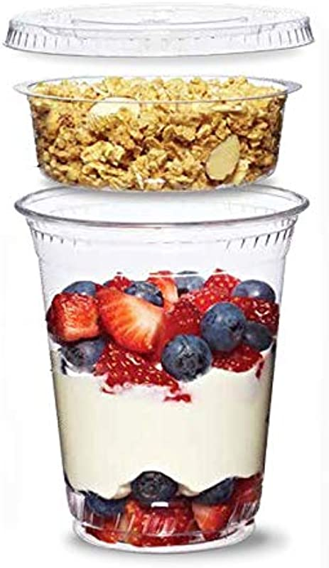 Shop Tek 12 Oz 20 Counts 3 Piece Clear Plastic Cup With With Parfait Insert Flat Lid No Hole Sold By Ucostore Only