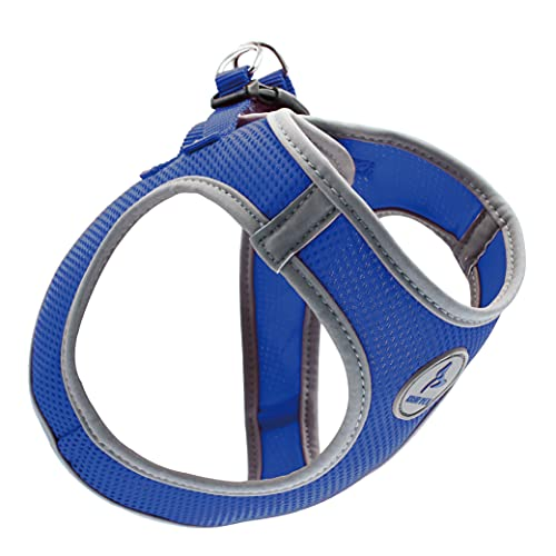 Kruz PET KZA306-02XS Reflective Mesh Dog Harness, No Pull, Quick Fit, Comfortable, Adjustable Pet Vest Harnesses for Walking, Training, Small, Medium Dogs - Blue - X-Small
