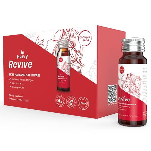 Heivy Liquid Collagen Supplement, Collagen Drink, Collagen Peptides, Hydrolyzed Marine Collagen,Glowing Hair Skin and Nails,10,000mg Marine Collagen, With CoQ10, 1.69 fl.oz./Bottle. (1 box,10 Bottles)