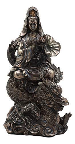 Ebros Avalokiteśvara Meditating Buddha Kwan Yin Kuan Yin On Dragon Statue 11'Tall Compassion of All Buddhas Guan Yin Decor Figurine