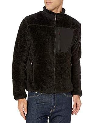 Hawke & Co Men's Full Zip Teddy Fleece Jacket | Ultra Soft Warm Coat with Waterproof Pocket, Black, Medium from Hawke & Co