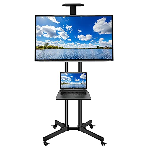 Aresh Double-column Mobile TV Cart with Locking Wheels for 32-65Inch TVs, Adjustable Movable TV Floor Stands with Laptop Shelf,Media Rack for Home&Company, Holds up to 110lbs, Max VESA 600×400mm,Black