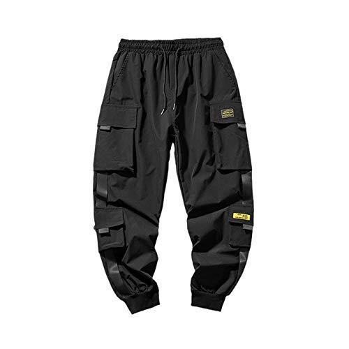 Hip hop Joggers Cargo Pantalons Hommes Harem Pantalons Rubans Homme Pantalons de survêtement de Streetwear Occasionnel Pantalon Black15 5XL