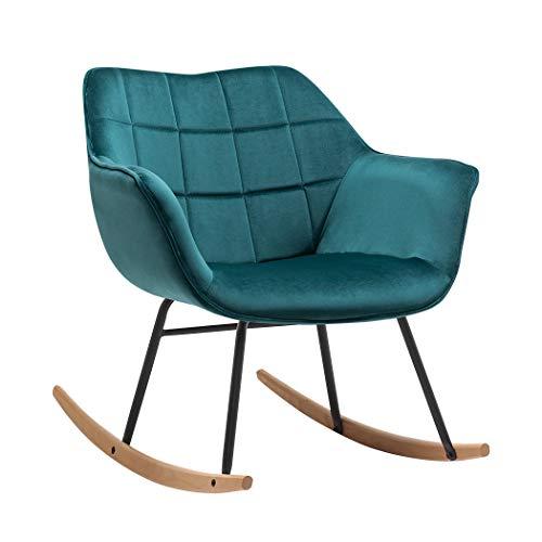 Duhome Sedia a Dondolo design retro poltrona a dondolo con piedini in metallo e legno...
