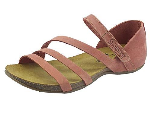 Sabatini 4605 Crazy Sandalen mit niedrigem Keilabsatz für Damen, aus Nubuk, Rosa, Stretch-Verschluss, Pink - gebrannt - Größe: 40 EU