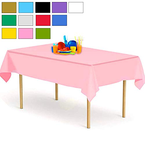 YANGTE Einweg Tischdecke aus Kunststoff 4 Stück,Rosa Plastik Tischtuch Rechteck 137x274cm für Tische im Indoor und Outdoor Partys, Garten, Geburtstage, Hochzeiten, Weihnachten