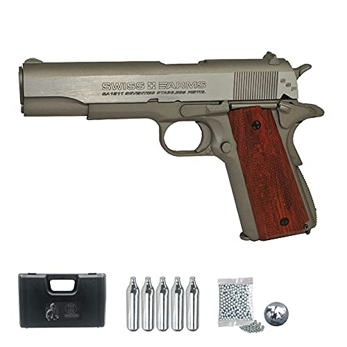 Swiss Armss 1911 Stainless blowback | Pistola de balines (Bolas bb's de Acero) y CO2 semiautomática