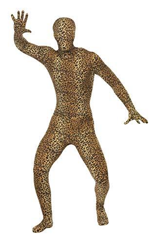 Smiffys, Herren Second Skin Kostüm mit Leopardenmuster, Ganzkörperanzug mit Bauchtasche, Größe: XL, 24283