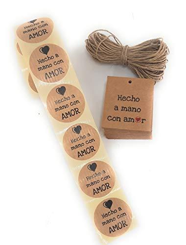 Conjunto de etiquetas adhesivas y de cartón kraft Hecho a mano con Amor (texto en español)