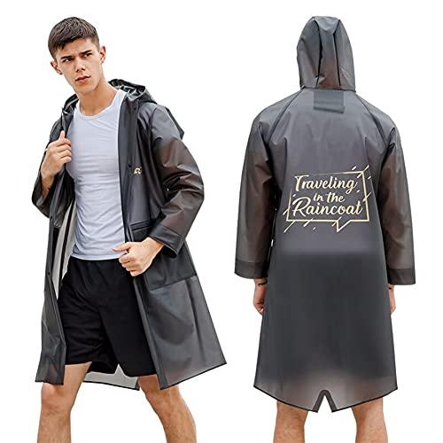 SASAU Impermeable Hombres/Mujeres Impermeables Poncho de la Moda de la impresión de la impresión de los Adultos con Capucha Bolsillos (Color : Grey)