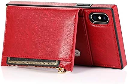 Sccdjyxl Cover Case for iPhone Xs MAX, Zipper Wallet Case with Credit Card Holder/Crossbody Long Lanyard, Shockproof Leather TPU Case Cover for iPhone Xs MAX (Color : Red)