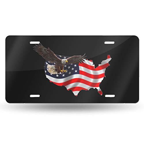 Placa de matrícula con diseño de águila de la bandera americana, placa decorativa para coche, placa de metal para coche, placa de matrícula de aluminio, para hombres, mujeres, niños, niñas, 6 x 30 cm