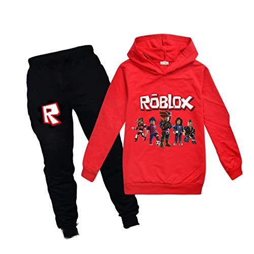 Jungen Kapuzenpullover Mädchen Kinder Outfit Cartoon Charaktere Pullover Baumwolle Sweatshirt Hose Kleidung Sets Gr. 9-10 Jahre, rot