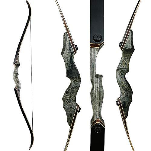 Huntingdoor Arco da 60 Pollici Takedown Arco ricurvo Arco Destro Riser 30 40 50 lbs con Corda per tiro a Segno (30lbs)