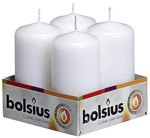 BOLSIUS Pillar Candle, White, Pack of 4, Tray 4, 100/50 mm