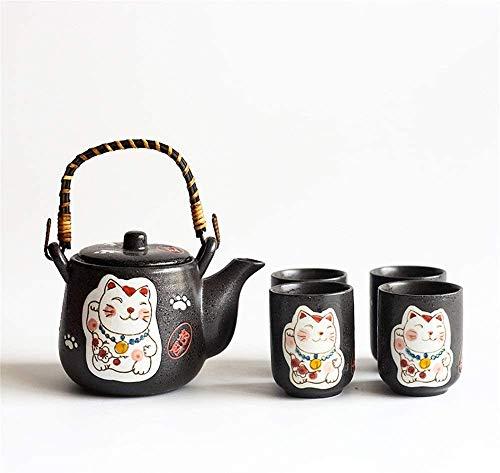 Teteras / Café Copa de té de porcelana de cerámica Set Lucky Cat Pattern Tetera esmaltada con mango y taza de té Conjunto Adecuado para el hogar y el jardín de oficina Sala de té para el hogar de la b