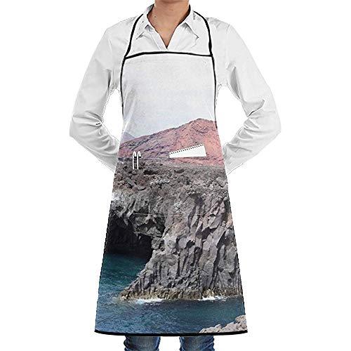 jingqi Grembiuli da Cucina Lavabili Regolabili durevoli Unisex Casual Lanzarote Seaside Apron Pocket Fashion Chef Grembiuli